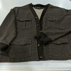 Brown button up 100% cotton sweatshirt